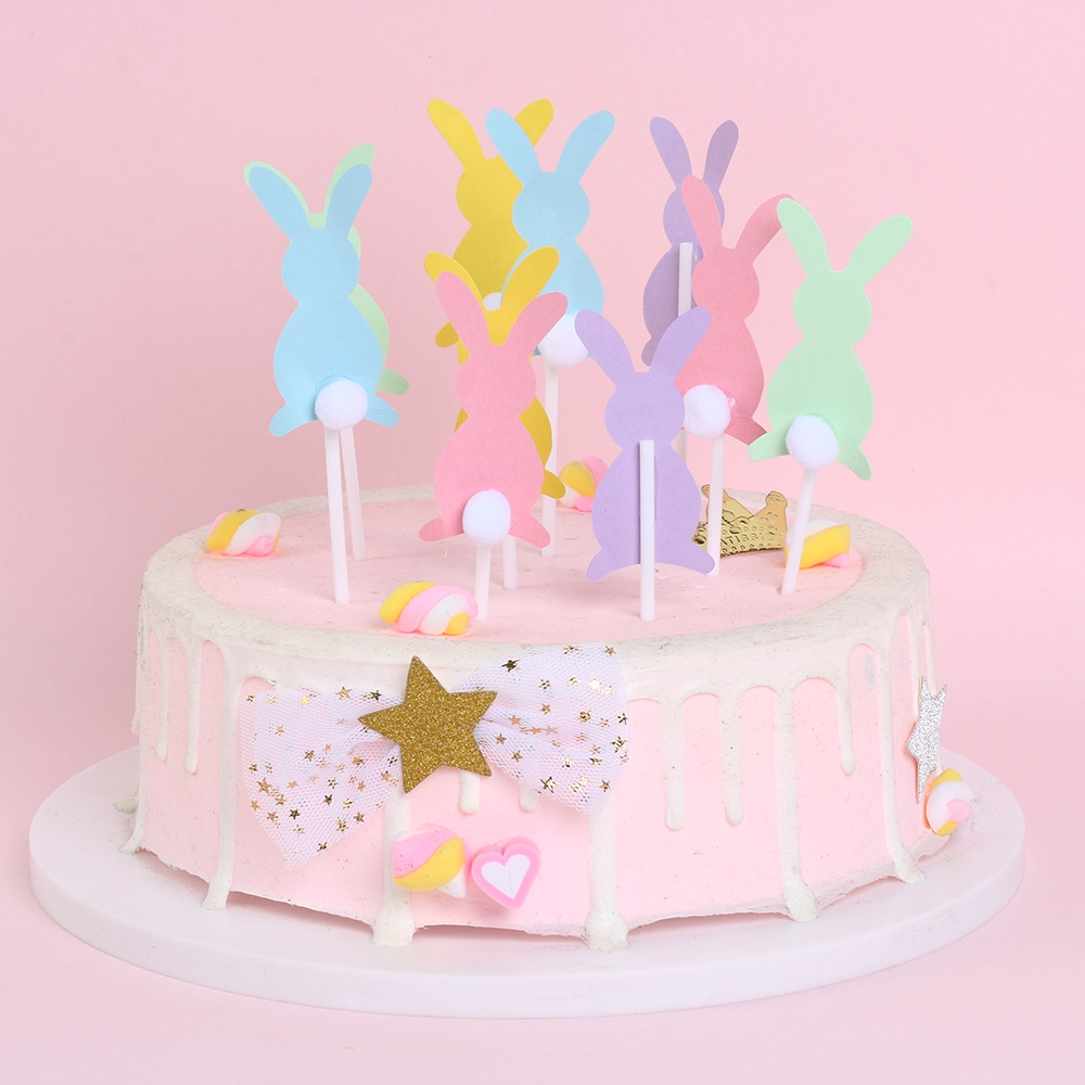 5pcs* Cute Happy Easter Rabbit Cake Toppers Festival Supplies Easter Decoration