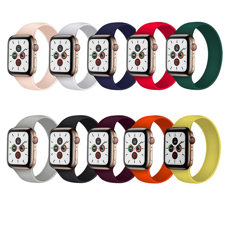 นาฬิกาดิจิตอล。 [ส่งเร็ว สต๊อกไทย] สาย Apple Watch Solo Loop สายซิลิโคน สำหรับ applewatch Series 6 5 4 3 ตัวเรื่อน 44mm 4