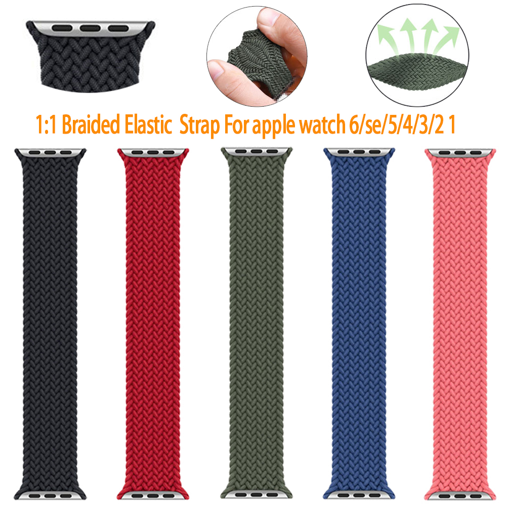 1:1 braided fabric สายนาฬิกาไนล่อน Apple Watch 6 44 มม 40มม 38 มม 42 มม series 6 se 5 4 3 2 1 สาย applewatch