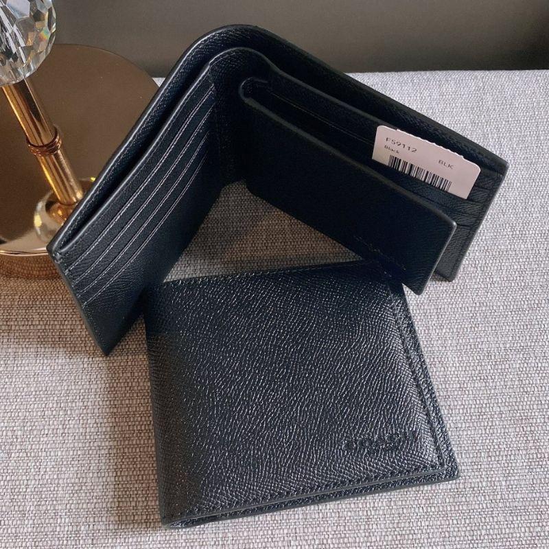 กระเป๋าสตางค์ผู้ชายใบสั้นหนังสีดำ COMPACT ID IN BLACK CROSSGRAIN LEATHER (COACH F59112)