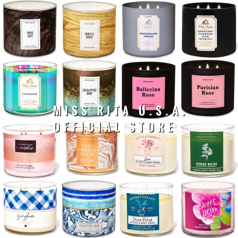 3 WICK CANDLE Bath&BodyWorks เทียนหอม 411g