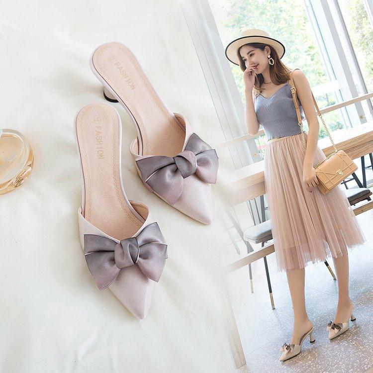 รองเท้าส้นสูง หัวแหลม ส้นเข็ม ใส่สบาย New Fshion รองเท้าคัชชูหัวแหลม  รองเท้าแฟชั่นรองเท้าแตะของผู้หญิงในช่วงฤดูร้อนออกน