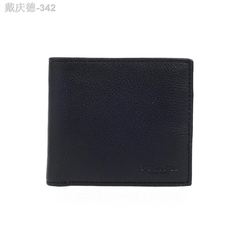 >Hong Kong Direct Mail Coach/Coach กระเป๋าสตางค์หนังวัวสั้นผู้ชายธุรกิจหนังลำลองเรียบง่ายแฟชั่นช่องเสียบการ์ดหลายใบ