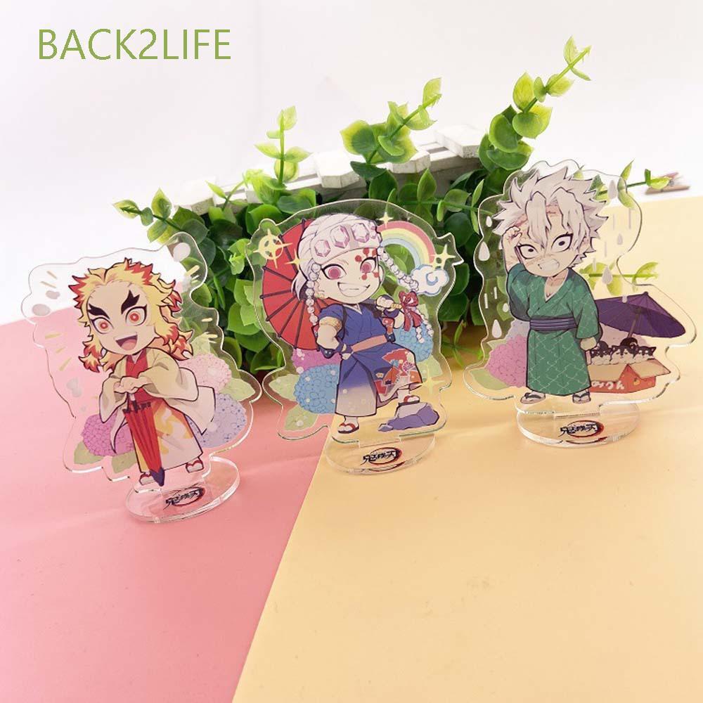 BACK2LIFE Cartoon Desktop Decoration Anime Desktop Standing Card Demon Slayer Agatsuma Zenitsu Collectible Toy Kamado Tanjirou Cute Kimetsu no Yaiba Tomioka Giyuu Figure Model Plate