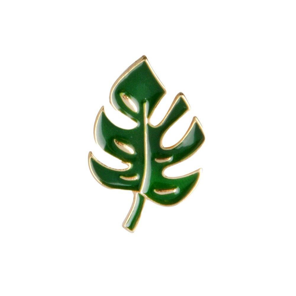 Simple Cartoon Green Plant Coconut Tree Mexican Cactus Leaf  Brooch Pins