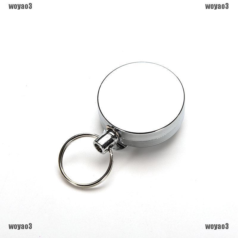QUALITY RECOIL//RETRACTABLE KEY RING CHAIN BLACK WITH BELT CLIP SERCURITY 65CM