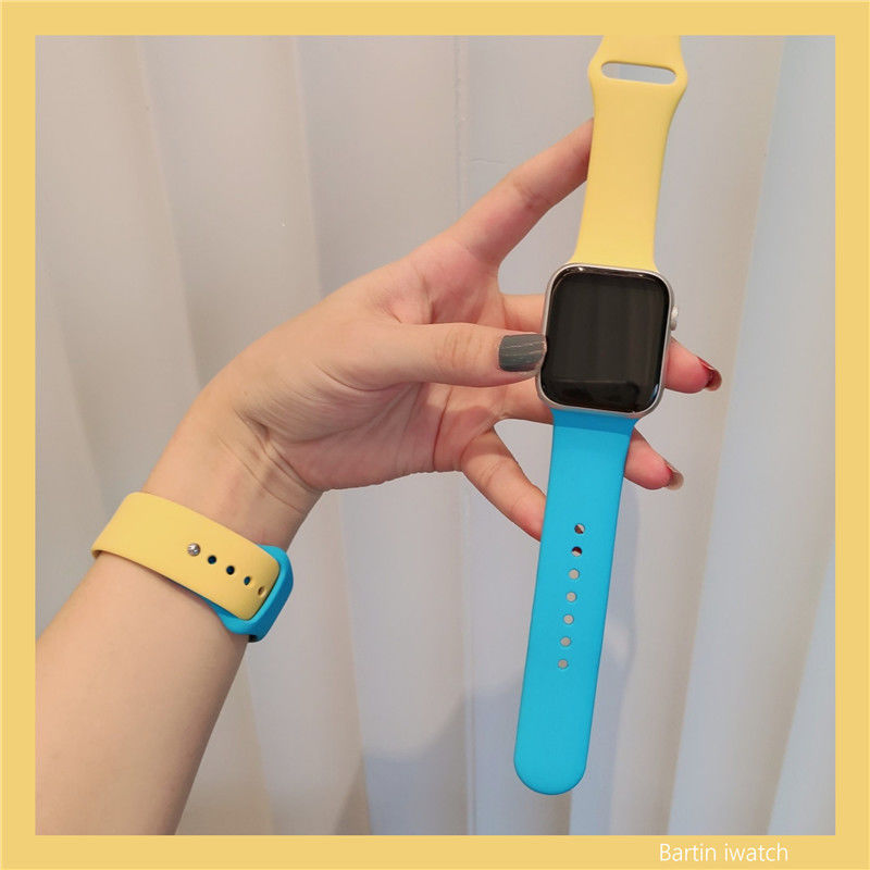 Silicone strap for Apple Watch 6 SE 5 4 38mm 42mm Two color Sports Strap For iWatch Series 40mm 44mm 3 2 1 Apple watch b