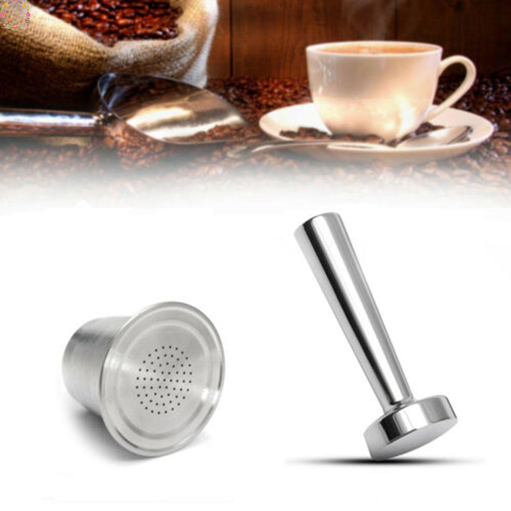 แคปซูลกาแฟสเตนเลสใช้ซ้ำได้ พร้อมที่กด สำหรับเครื่องทำกาแฟ Nespresso