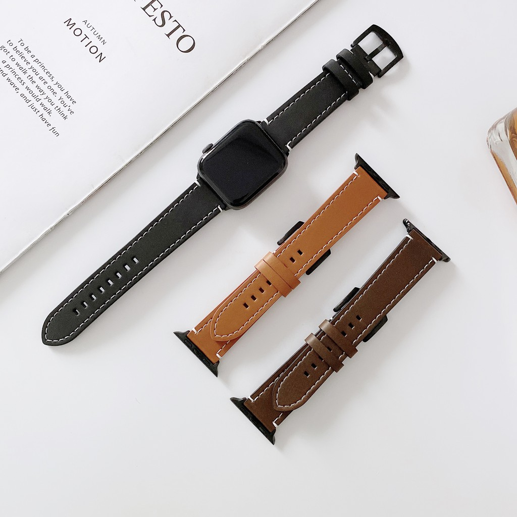 Casual apple watch strap สายนาฬิกาหนัง iwatch series SE 6 5 4 3 2 1 Leather watch strap 38 40 42 44mm
