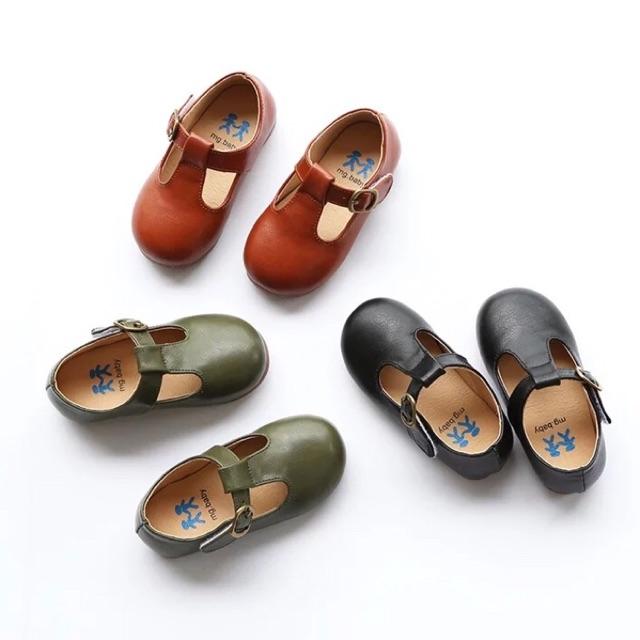 รองเท้าเด็กหนัง คัชชูรัดส้น สีน้ำตาล , เขียว , ดำ