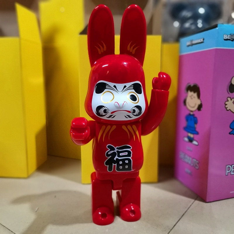 Peking Opera Mask Red Lucky Rabbit Gold X-large HajimeSorayama Rabbit Bearbrick 400% Action Figure Collection Toy