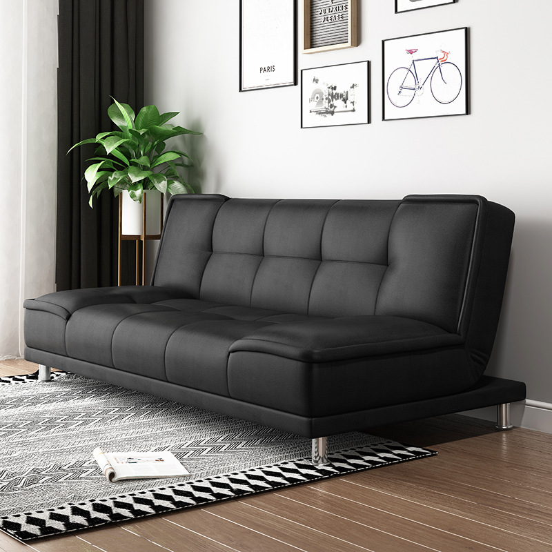 Small Apartment Living Room, Black Leather Sofa Bed Couch