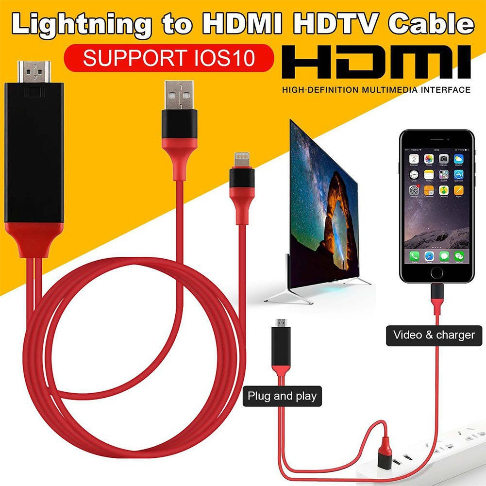 For iPhone X 7 6S 5S SE 8 Plus USB MHL To HDMI HDTV 1080P TV