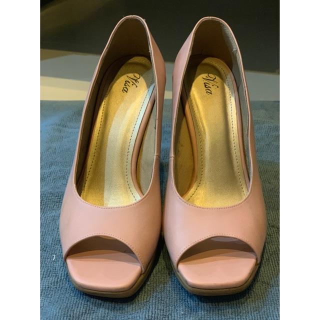 รองเท้าส้นสูง คัชชู เปิดหน้า หนังแท้ สีชมพู size 37 สูง 4 นิ้ว