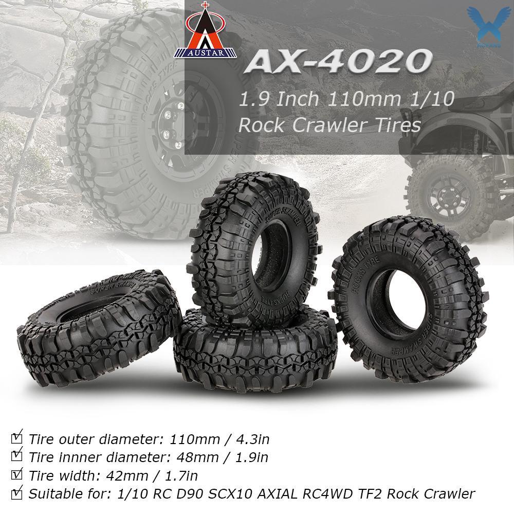 ยางรถยนต์ 4 ชิ้น austar AX-4020 1.9 นิ้ว 110 มม. 1 / 10 Rock Crawler