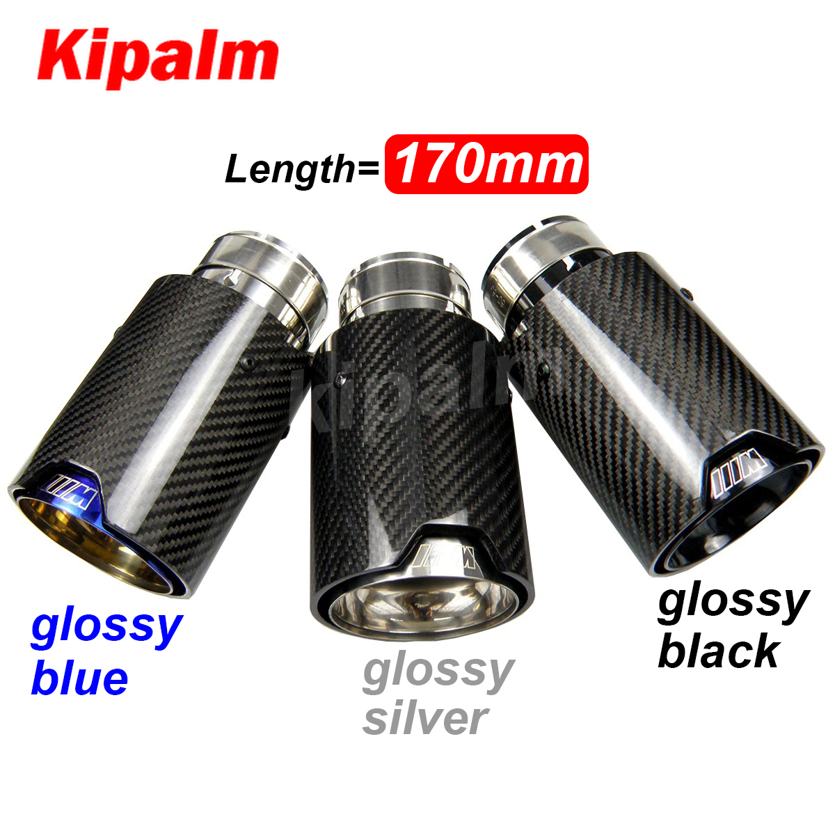 universal m logo carbon fiber exhaust tips for m performance exhaust pipe for bmw muffler tail pipe 170mm length m3 m4 m5