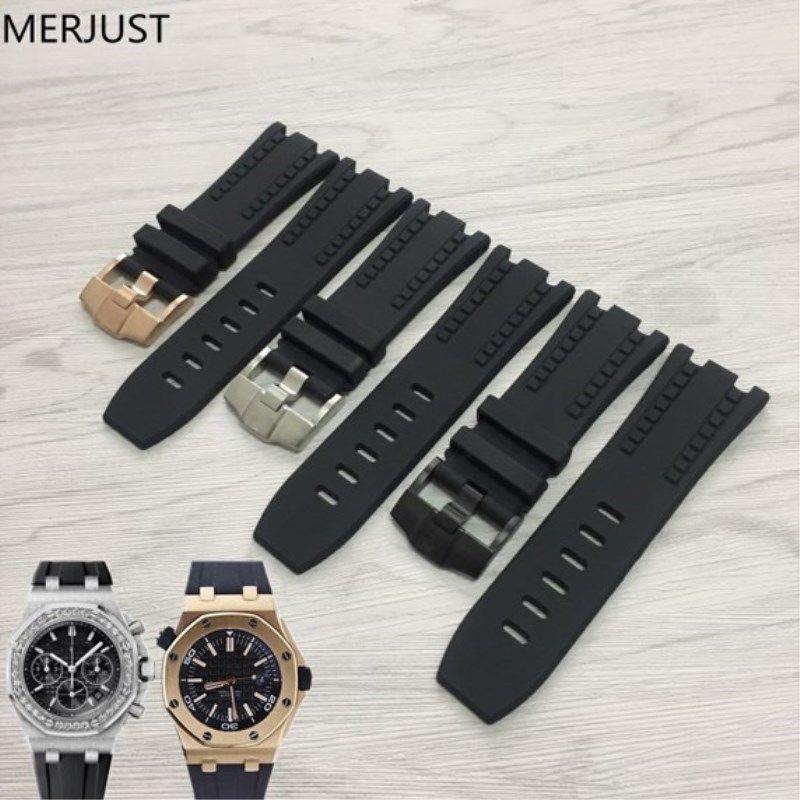 ใช้ได้กับ AP Audemars Piguet สายยางซิลิโคนสายนาฬิกาข้อมือผู้ชาย Royal Oak Offshore Series 28mm