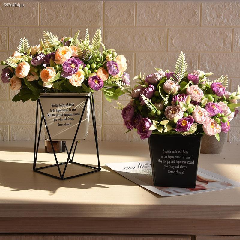 การจำลองพันธุ์ไม้อวบน้ำ✒♙ดอกไม้เลียนแบบ Nordic iron art สแควร์ดอกไม้ชุดถังดอกไม้ปลอมห้องนั่งเล่นตกแต่งดอกไม้ผ้าไหมดอกไม้