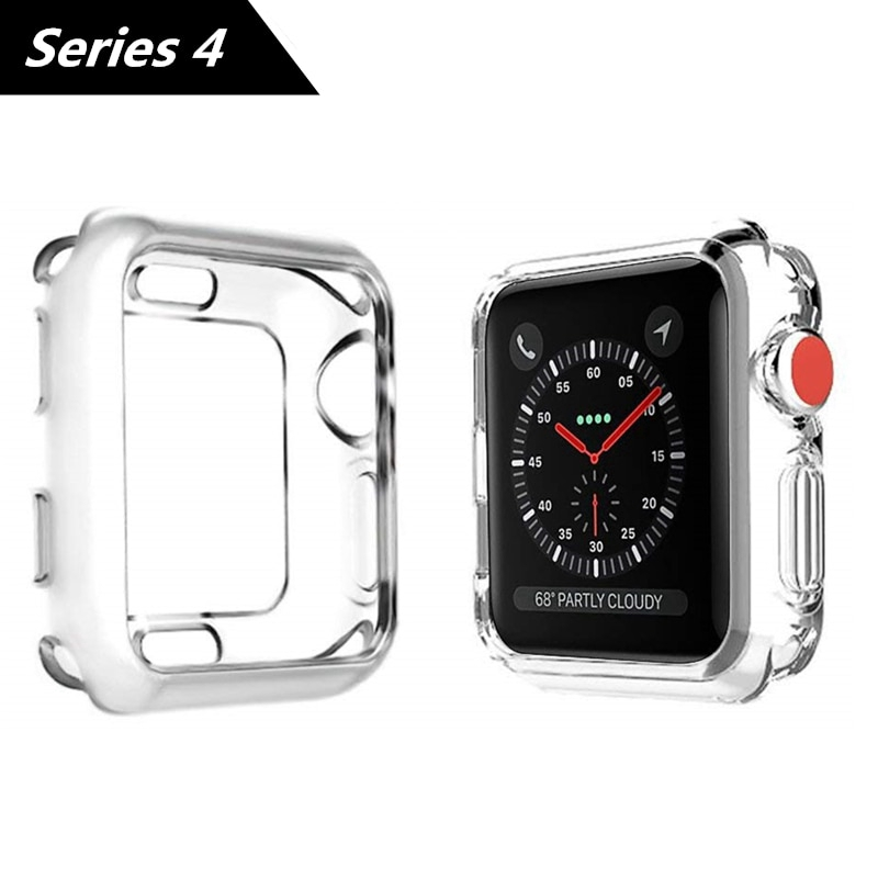 Apple Watch Series 4 Silicone Soft Case iWatch 4 Clear & Black Cover TPU Protector