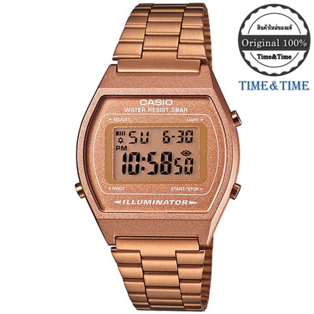 จัดส่งฟรีTime&Time CASIO Standard นาฬิกาข้อมือ สีพิงค์โกล สายสแตนเลส รุ่น B640WC-5ADF