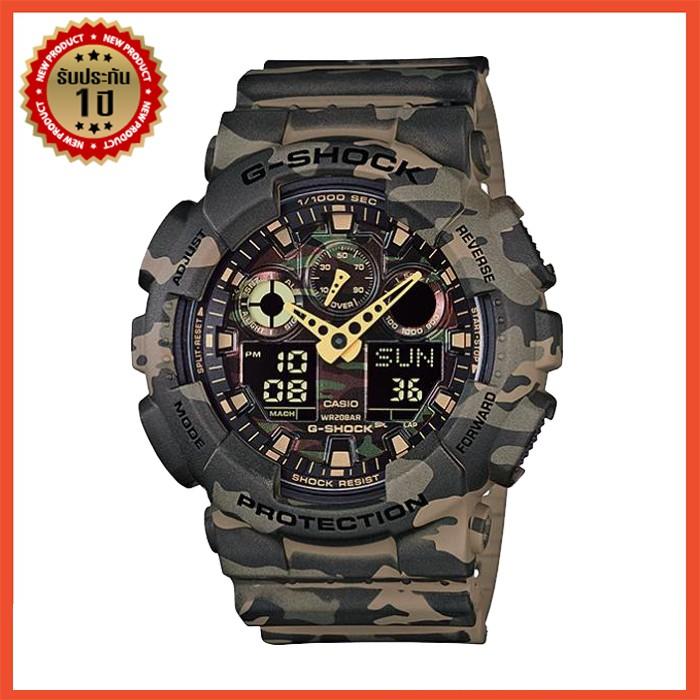 applewatch series 6∈□❒นาฬิกา Casio นาฬิกาข้อมือผู้ชายแฟชั่น Casio G-SHOCK GA-100CM-5A กีฬาอิเล็กทรอนิกส์(ของแท้100% ประก