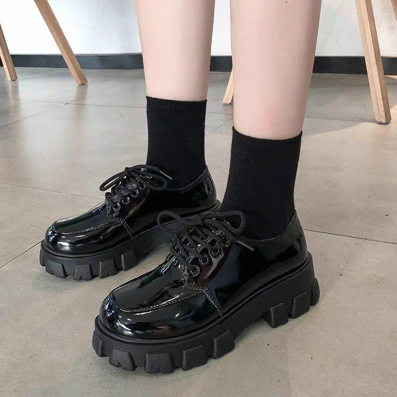 ?Hot sale! รองเท้าหนังขนาดเล็กสไตล์วิทยาลัยอังกฤษนักเรียนหญิง JK เวอร์ชั่นเกาหลีของป่าปี 2020 ฤดูร้อนใหม่รองเท้าส้นสูงส