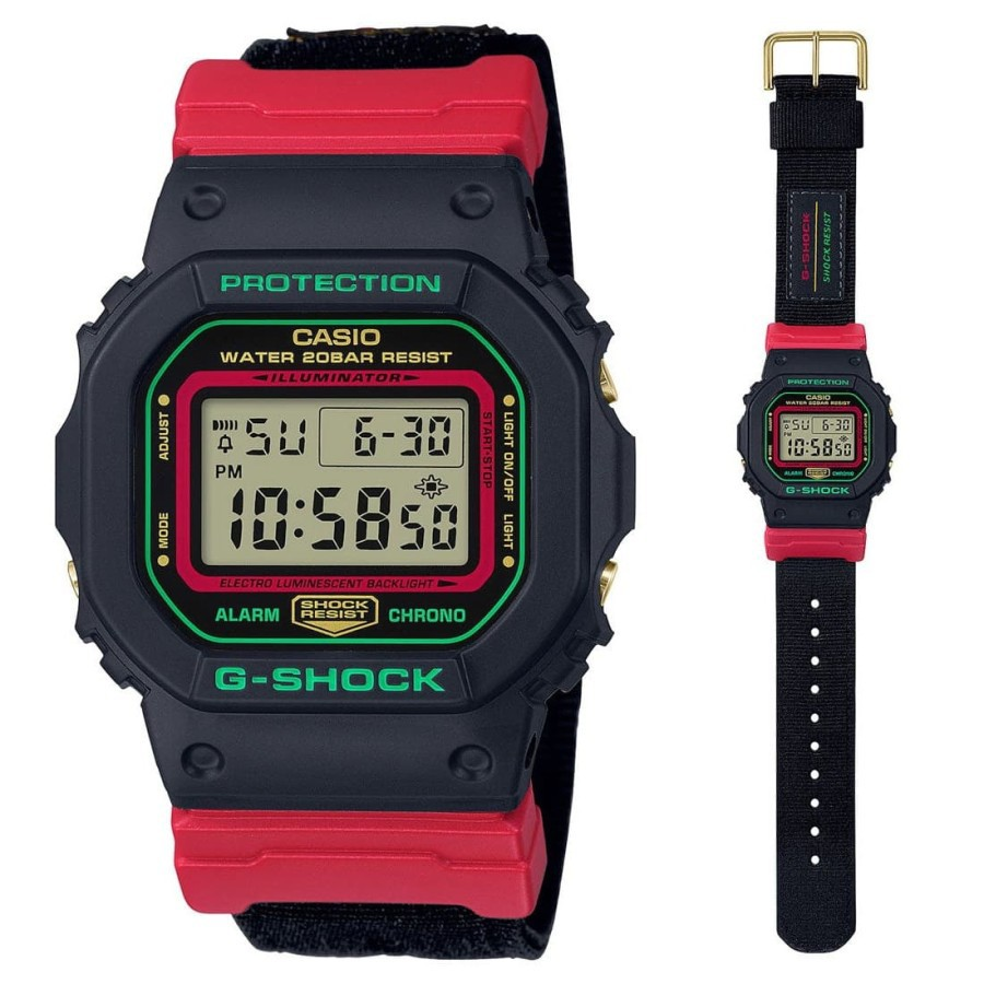 Casio นาฬิกาข้อมือสายไนล่อนสําหรับ G-shock Dw-5600thc-1dr 2 Yrs