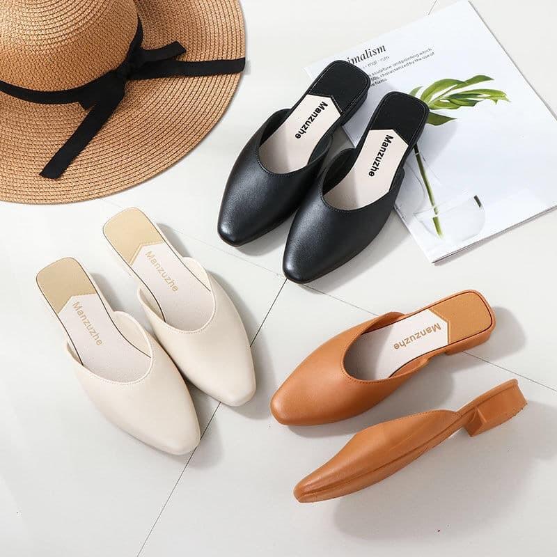 รหัส007รองเท้าหนังเปิดส้น รองเท้าคัชชู รองเท้าหนัง รองเท้าแฟชั่น 2020 รองเท้าผู้หญิง รองเท้าคัชชูแฟชั่น