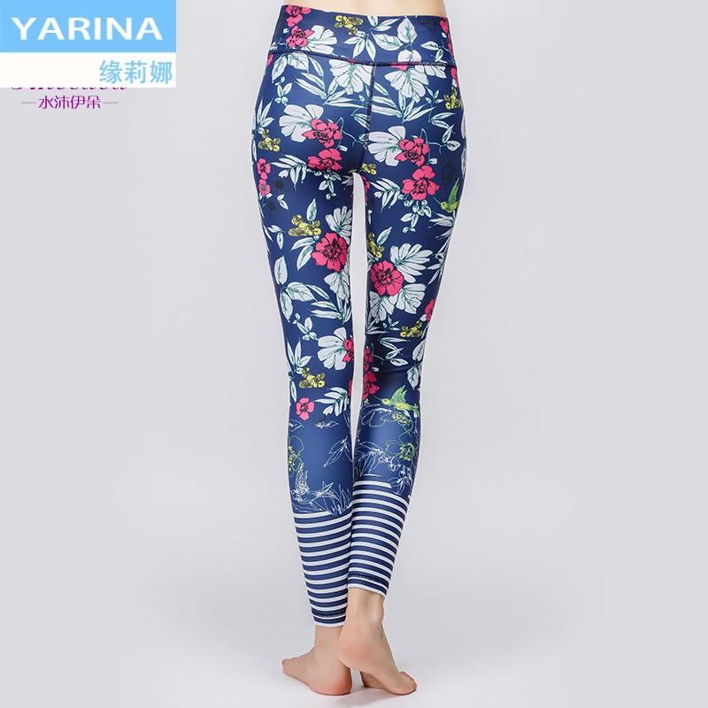 YARINA2018 ฤดูใบไม้ร่วงและฤดูหนาวเสื้อผ้าออกกำลังกายสไตล์ใหม่เสื้อผ้าโยคะสีเอวยางยืดสูงทรงเลกกิ้งผู้หญิง