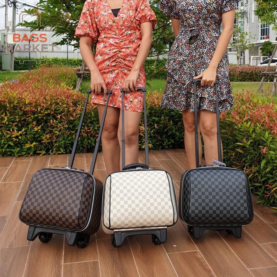 Sun POLO กระเป๋าเดินทางล้อลาก 14 นิ้ว กระเป๋าใส่เครื่องสำอาง กระเป๋าแฟชั่น L-Pattern Grey Classic Code FLB14-G