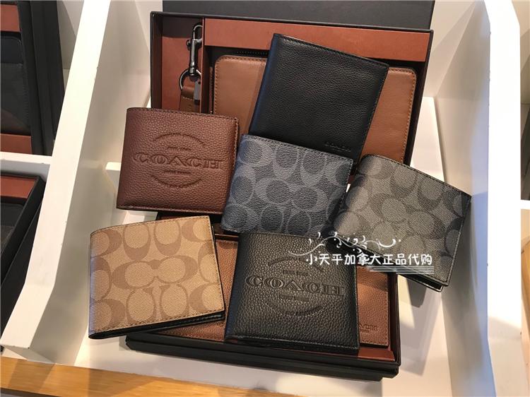 ♖☁กระเป๋าสตางค์สั้นShanghai Domestic Spot/Coach Men's กระเป๋าสตางค์ใบสั้นสองพับแบบเรียบง่ายหลากหลายแบบ