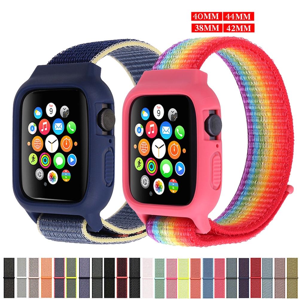 สายนาฬิกาข้อมือไนล่อน+สายคล้องคอสําหรับ apple watch band 44 มม. 40 มม. สําหรับ iwatch band 42 38 มม. series SE 6 5 4 3  2