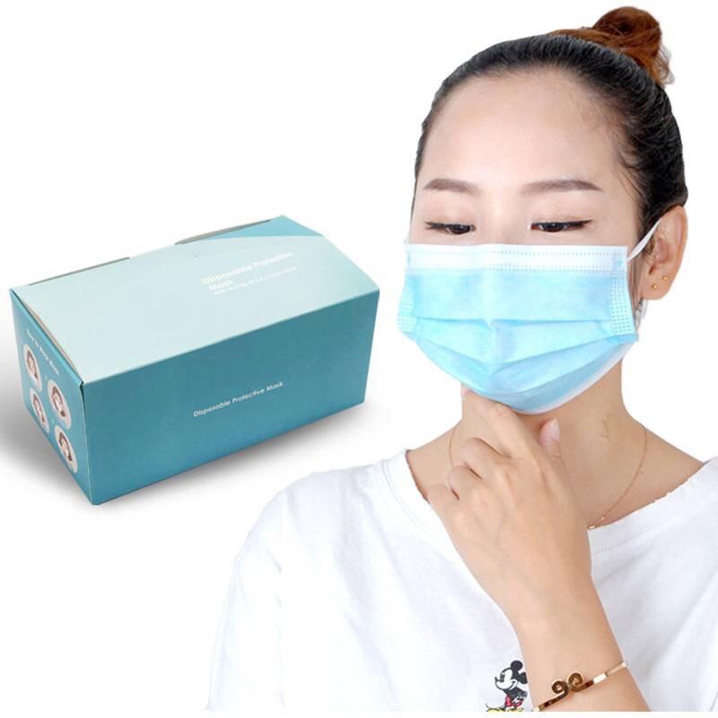 Face Mask หน้ากากอนามัยหนา 3ชั้น ยกลัง/40กล่อง (1 กล่อง 50ชิ้น)(มีกล่อง)ส่งเร็วจากกรุงเทพไม่ต้องรอ มี2สี ฟ้า ขาว