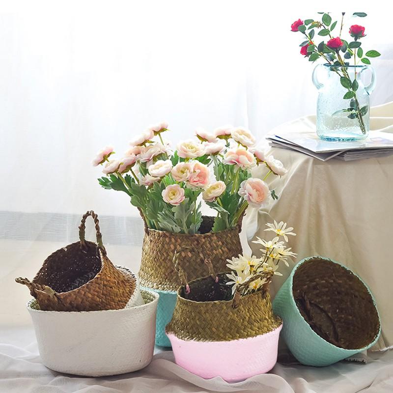 Seagrass Belly Basket Plant Pot Storage Bag Holder Organizer Home Garden Decor