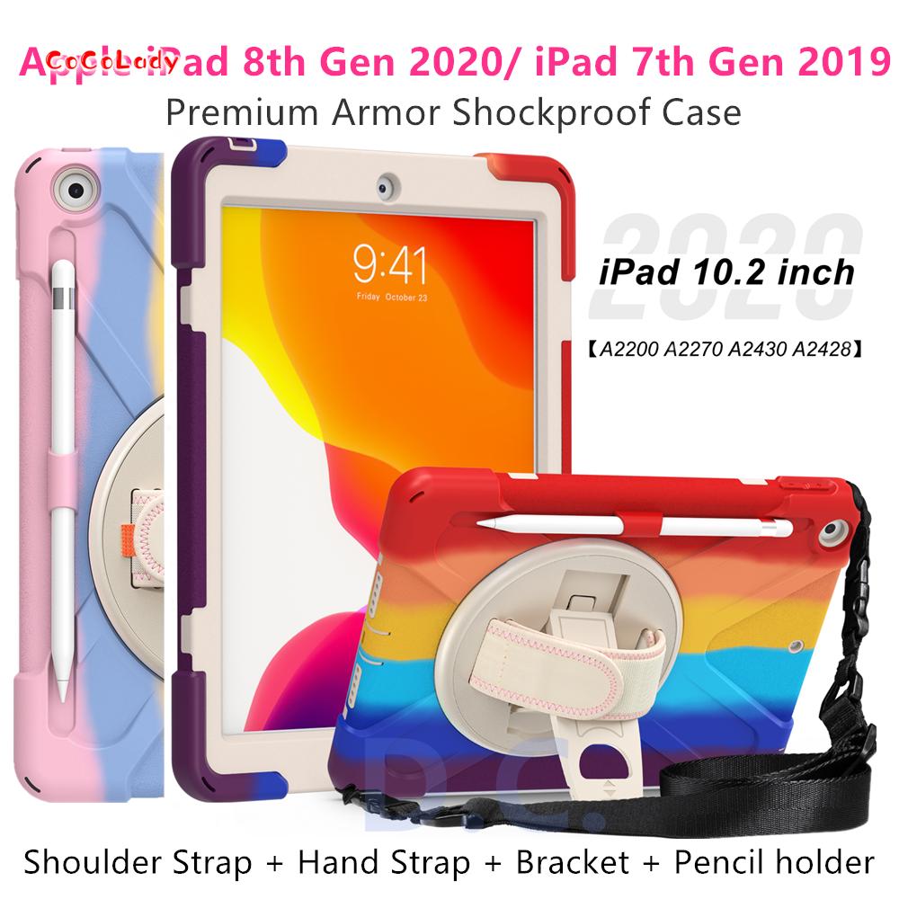 "iPad 8th 7th Gen 10.2inch iPad Casing Rainbow Premium Shockproof Armor cover Apple iPad 10.2"" 2020 2019 Case with pencil"