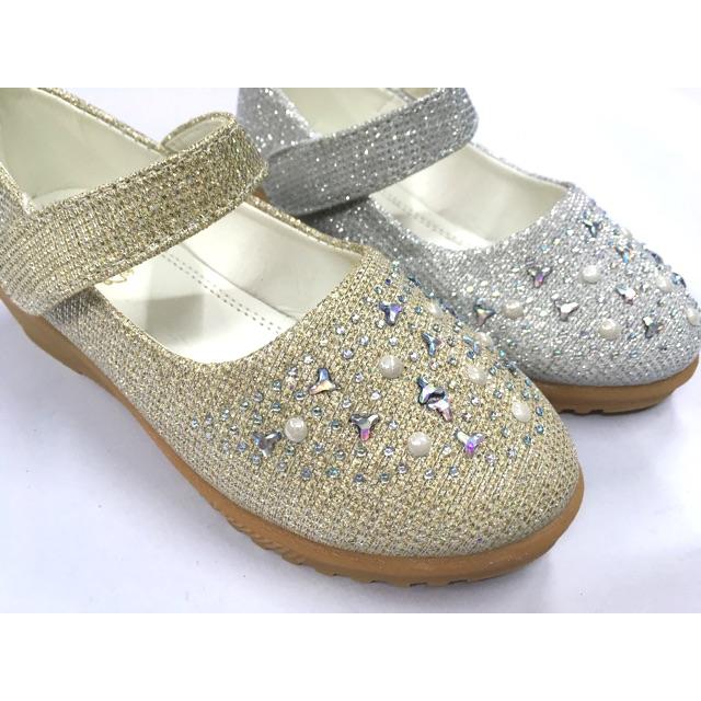 👸รองเท้าคัชชูเด็กผู้หญิง รองเท้าออกงานเด็กผู้หญิง  สีทอง สีเงิน ไซส์ 31-36