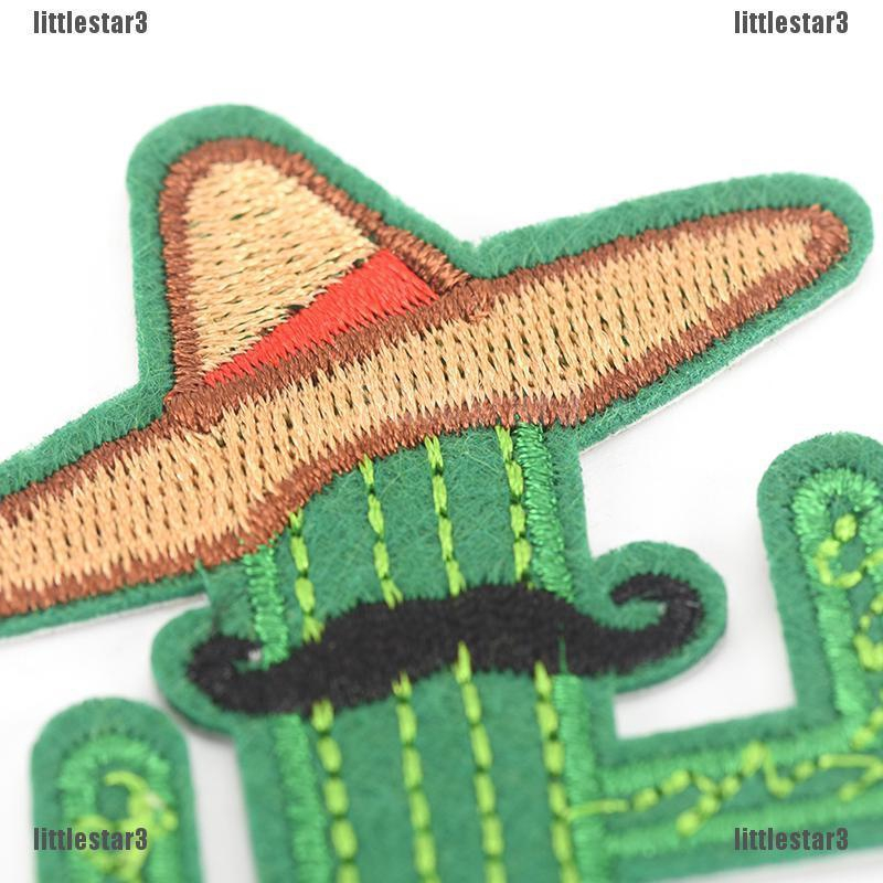 {NUV} cowboy cactus with hat and beard diy embroidered iron on patches brooch applique{LJ}