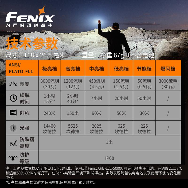 ไฟฉาย led Fenix E35 V3.0ไฟแรงถ่ายได้นานLEDไฟฉายกลางแจ้ง3000ลูเมน21700แบตเตอรี่ที่บ้านทุกวัน wU0b