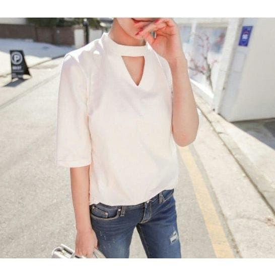 เสื้อเบลาส์ Devy blouse / Tunic / ity crepe (Ribka สีขาว RO) สําหรับผู้หญิงสีขาว 8UGZ