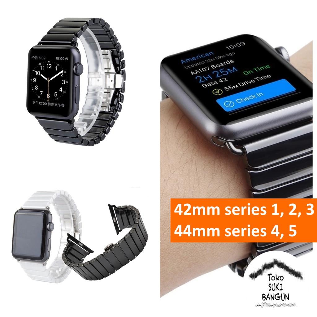 สายนาฬิกาข้อมือเซรามิคสําหรับ Apple Watch Series 6 5 4 3 2 1 Band 42mm 44mm