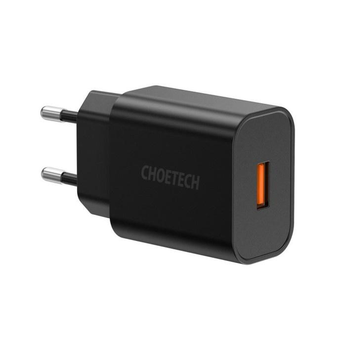 Choetech Q5003 QC 3.0 18W ที่ชาร์จติดผนังสีดํา