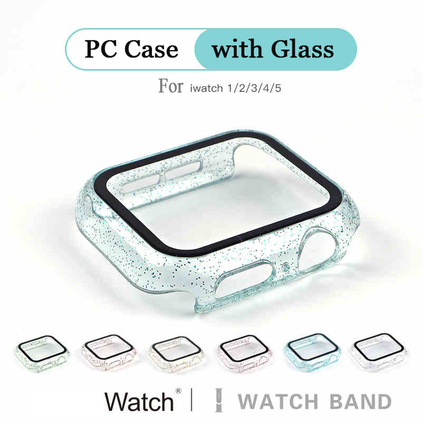 Apple Watch Case For Series 5 4 3 2 1 360 Glass + Case for iwatch 40MM 44MM 42MM 38MM PC Bumper with screen protector Cover Protector Film Case