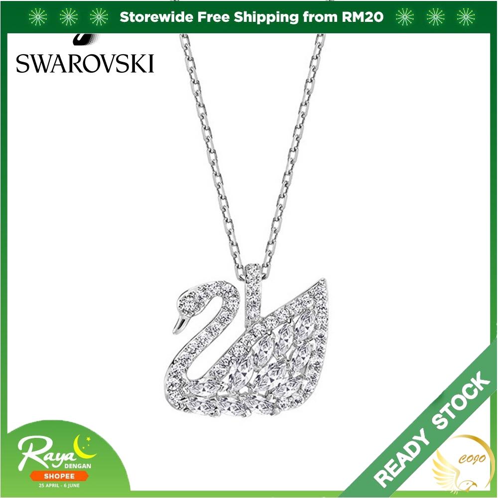 Swarovski Swan สร้อยคอจี้หงส์สีขาวทองสําหรับผู้หญิง