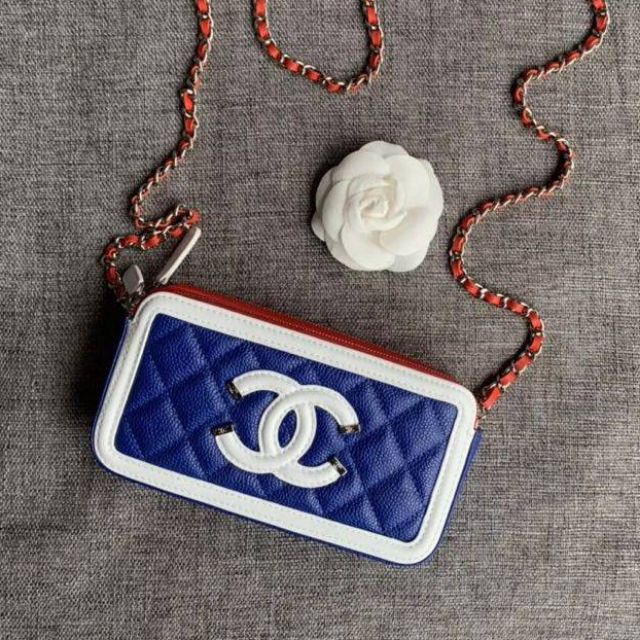 Chanel​ boy​ Navy​ woc​ Double​ Zip​ Shoulder​