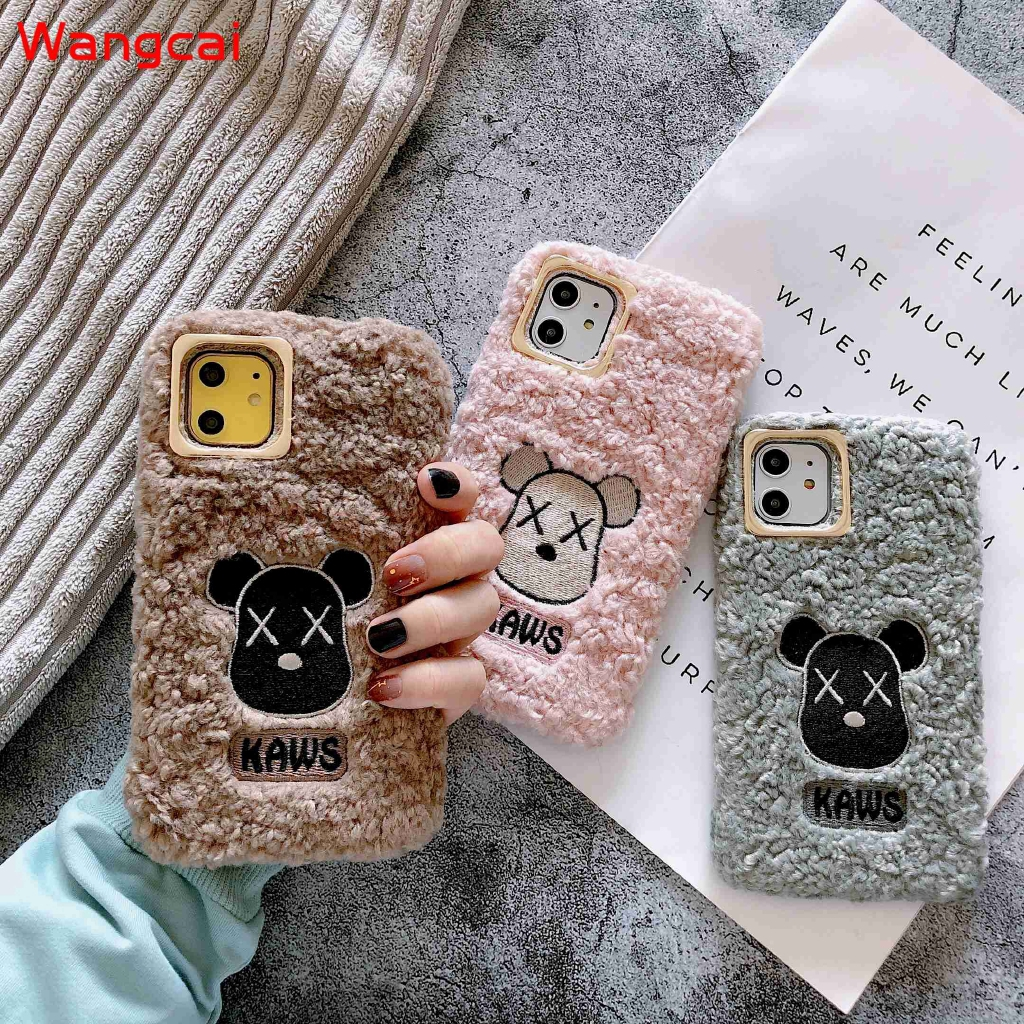 Samsung Galaxy A9 A8 A7 A6 A6+ Plus A5 2018 2017 A9 Pro 2016 A8S Case KAWS Hairy Plush Winter Knitted Cartoon Case Cover