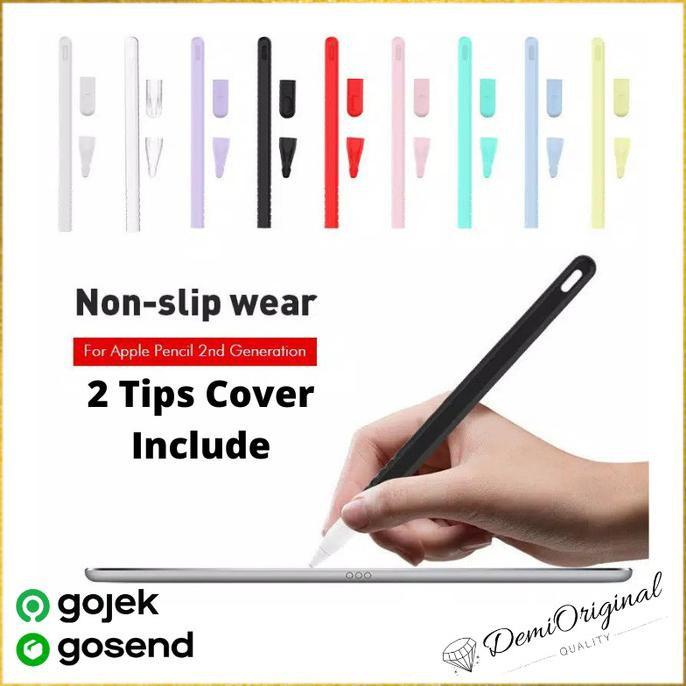 เคสป้องกันรอยแตกสําหรับ Apple Pencil Gen 2 Free 2 Tip Cover - สีดํา