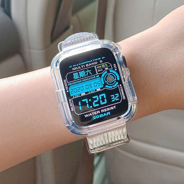 สาย applewatch ความคิดสร้างสรรค์ สายรัด iwatch โปร่งใส Apple watch สาย Applewatch SE Glacier จำกัด 5/6 รุ่น 4/3/2 ชายและ