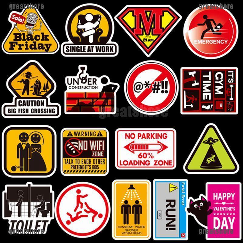 10//50PCS Warning Stickers Danger Waterproof Decal Sticker For DIY Laptop Luggage