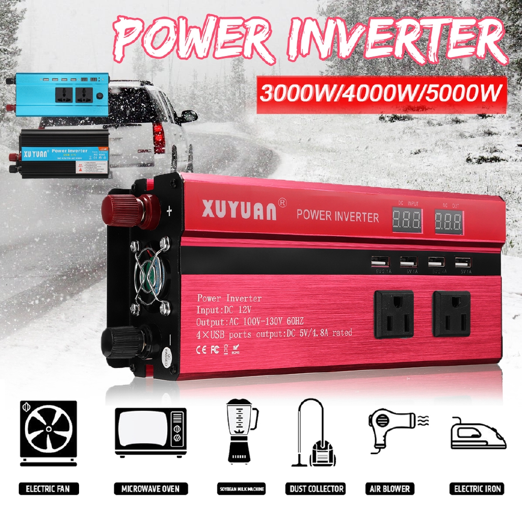 3000w 4000w 5000w Solar Power Inverter 4usb 12v Dc To 220v Ac Sine Circuit 12vdc 230vac Wave Convert Shopee Thailand
