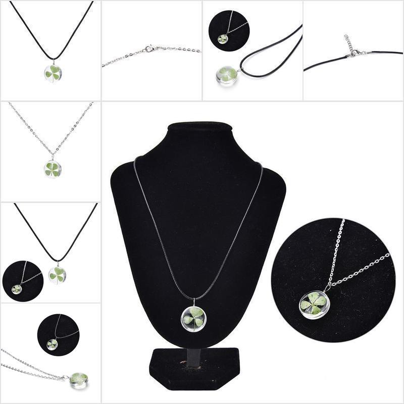 Green Lucky Shamrock Four Leaf Clover Glass Pendant Necklace Jewelry Gift
